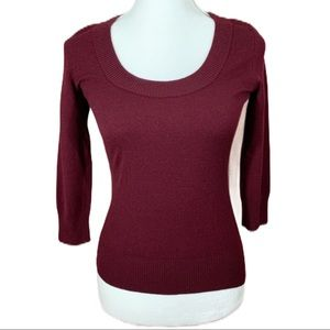 Dolce & Gabbana Burgundy 3/4 Sleeve Sweater- 6